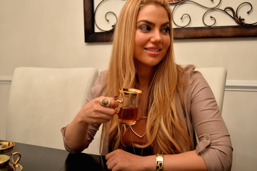 Arzu Esendemir Drinking Tea