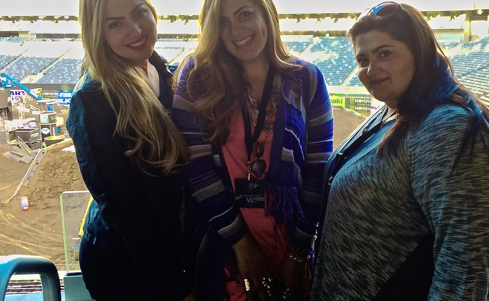 Arzu, Gonca, Fusun Esendemir Sisters attend Monster Energy Supercross Live at Metlife Stadium in New Jersey